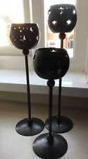 3 Tall Black Stars Tea Light Holders, Varied Height, Medieval / Gothic Style