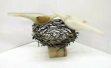 Extremely RARE C. Jere SIGNED Birds Nest Sculpture. Onyx birds on brass nest.