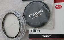 Canon 58 mm Lot filtre neutre protect ion + bouchon AV objectif ultrasonic Neuf