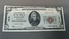 SECOND NATIONAL BANK & TRUST CO. OF SAGINAW, MI. = 1929 $20 NATIONAL BANKNOTE