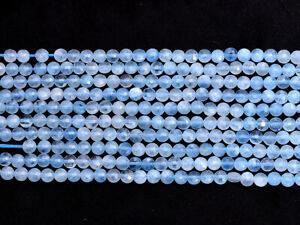 "AAA+ Natural Aquamarine Semi Precious Gemstone 4mm Coin Faceted Beads 13"" Strand"