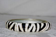 Black & White Bangle Cuff Hinged Goldtone & Silvertone Bangle Bracelet