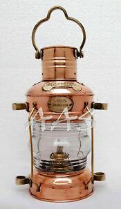"14"" Brass & Copper Anchor Boat Light Oil lamp Nautical Maritime Ship Lantern"