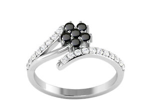 Shine Jewel 925 Silver Black Spinel Flower Cubic Zircon Bypass Side Stone Ring