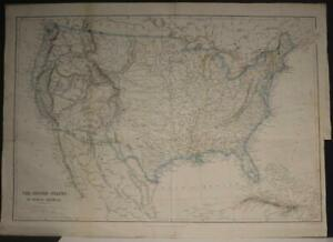 UNITED STATES 1840 JOSEPH WILSON LOWRY ANTIQUE ORIGINAL COLORED LITHOGRAPHIC MAP