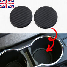 NEW Car Vehicle Water Cups Slot Non-Slip Carbon Fiber Look Mat Accessories set