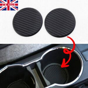 NEW Car Vehicle Water Cups Slot Non-Slip Carbon Fiber Look Mat Accessories set