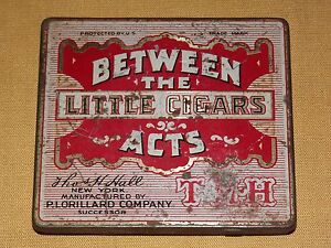 VINTAGE OLD  TOBACCO BETWEEN THE ACTS LITTLE CIGARS TIN CAN BOX