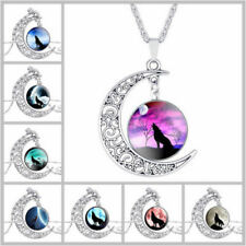 Vintage Wolf Crescent Moon Glass Cabochon Tibet Silver Chain Pendant Necklace