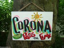 corona tropical tiki hut bar parrothead drink beach house island sign plaque