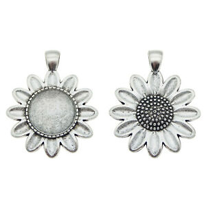 Silver Alloy Sunflower Bezel Setting Tray Pendant Jewelry DIY Accessories 5 Sets