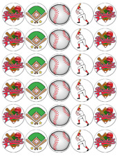 30x Baseball Cupcake Toppers Edible Wafer Paper Fairy Cake Toppers
