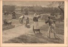 MARKET GARDEN, UPTOWN NEW YORK by W A Rogers, antique engraving original 1889