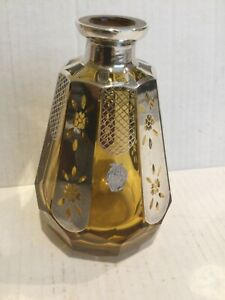 APA Argento Milano Perfume Bottle, Glass w/ Sterling Silver Inlays, no stopper