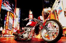 Photo Wallpaper NIGHT CITY STREET VIEW & HARLEY STYLE BIKE Wall Mural New York