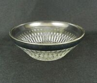 "Vtg Clear Glass Silver Rimmed Dish Bowl 4-3/4"" Candy Nuts Dessert"