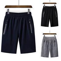 Men Running Shorts Elastic Basketball Jogging  Zipper Breathable Short Pant GIFT