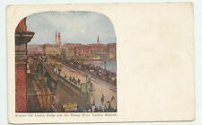 Historic Old London Bridge over the Thames River England Postcard Antique Unused