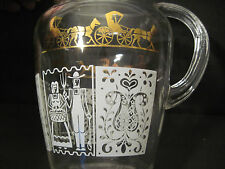 RARE American gothic Glass Pitcher Amish BUTTERPRINT Style Gold White Anchor Hoc