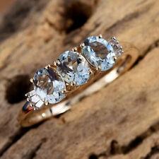 AA Espirito Santo Aquamarine Trilogy & Diamond Baguette 9K Y Gold Ring Size Q/8