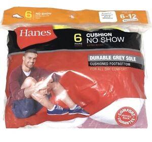 SLIGHTLY IMPERFECT Hanes 6 PAIR Men's Cushion No Show White Socks Grey Sole