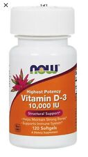 Now Foods Vitamin D-3 10000 IU 120 Soft Gels FAST 1st Class SHIPPING