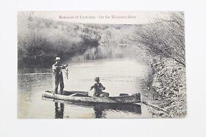 1911 Souvenir of Lumsden Wascana River Canada Vintage Postcard Fishing Fishermen