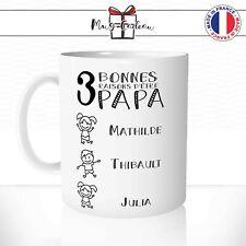 Mug Fête des Pères - Tasse Personnalisable Trois Prénoms Fille Garçon Cadeau