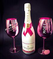Moet Chandon Ice Imperial Rose Champagner 0,75l 12% Vol + 2 Rose Glas Gläser