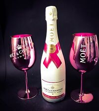 MOËT CHANDON Ice Imperial Rose Champagne 0,75 L 12% VOL + 2 Rose Verre Verres