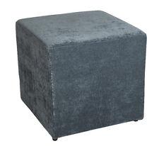 Amaris Elements | Sitz Hocker Sofa eckig blau grau 45x45 Samt Stoff Fußhocker