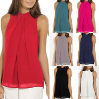Women Sleeveless Chiffon Vest Summer Loose Casual Beach Tank Top Blouse T Shirts