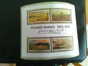 SET OF 4 MNH STAMPS OF SOUTH AFRICA RSA 1975 THOMAS BAINES PAINTINGS SHEET.