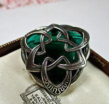 Firmato miracolo Scozzese Verde Strass Design Celtico Spilla/Pin