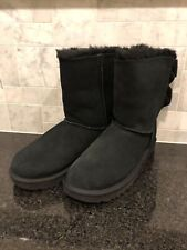 Women's UGG Bailey Corduroy Bow Black Boots- size 8- #1117652