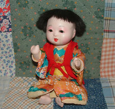 "Vintage 8"" Oriental Baby Doll, Composition, Glass Eyes, Silk Kimono"