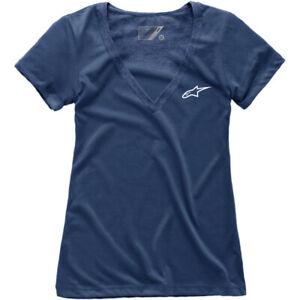 Alpinestars Women's Ageless V-Neck T-Shirt (Navy Blue) Choose Size