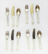 Dolls House Cutlery Set White Handles Miniature Dining Accessories