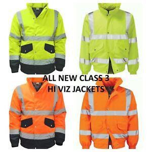 PREMIUM HI VIZ VIS VISIBILITY SAFETY BOMBER JACKET COAT WATERPROOF CLASS 3