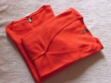 Stock due maglioni Benetton L in cotone arancio, cardigan e scollo barchetta.
