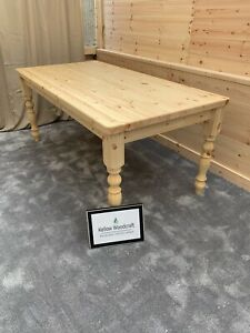 6ft (183cm) STD Farmhouse Table natural Clear Oil Finish