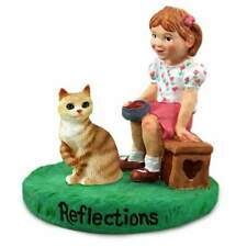 Red Tabby Manx Cat with Girl Reflections Figurine