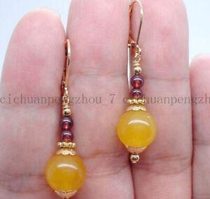 Pretty 10mm Yellow Jade & 4mm Garnet Round Beads Gemstone Dangle Earrings