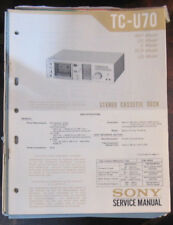 Sony TC-U70 cassette deck service repair workshop manual (original)