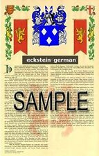 ECKSTEIN Armorial Name History - Coat of Arms - Family Crest GIFT! 11x17