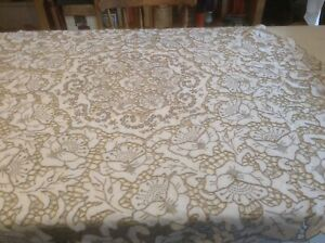 Vintage Circular Tablecloth with Madeira Hand Embroidery