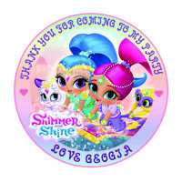 """30 x Personalised Shimmer and Shine  50mm 2""""  Party Stickers thank you labels"""
