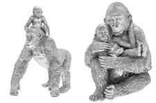 More details for leonardo silver art silver gorilla and baby ornament figures gift branded boxes