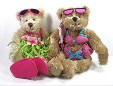 "2 BIKINI & Grass Skirt HULA Tiki Bar SUMMER Plush BEARS TERRY'S VILLAGE 11"" Pair"