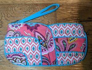 Vera Bradley Wrislet Cloth Pink Aqua Turquoise Boho Clutch 10x5   JAN21